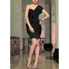 Simple Column One Shoulder Mini Chiffon Satin Black Homecoming Dresses