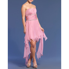 New Arrival Strapless Ruffle High-Low Ruched Chiffon Homecoming Prom Dresses