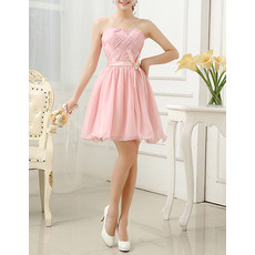 Elegant A-Line Strapless Short Chiffon Ruched Party Dresses with Belt