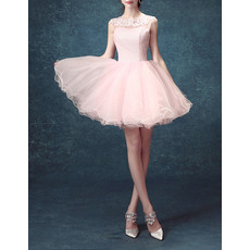 Cheap Ball Gown Short Tulle Open Back Homecoming Party Dresses