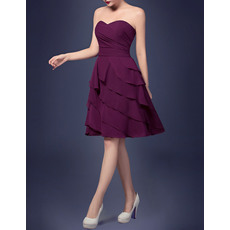 Discount A-Line Sweetheart Short Chiffon Homecoming Dresses with Layered Skirt