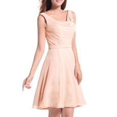 Inexpensive A-Line Straps Cowl Neck Short Chiffon Homecoming/ Party Dresses