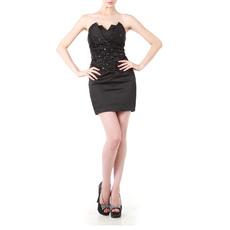 Newest Sexy Strapless V-cut Short Satin Black Homecoming Dresses