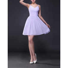 Inexpensive A-Line Straps Sweetheart Short Ruched Chiffon Homecoming Dresses
