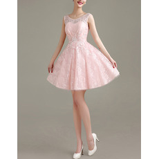 New Style Pretty A-Line Round-Neck Lace Backless Homecoming/ Party Dresses