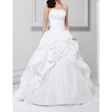 Princess Ball Gown Beaded Strapless Taffeta Pick-Up Skirt Wedding Dresses with Split Front