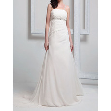 Perfect Beaded Spaghetti Straps Chiffon Wedding Dresses with Detachable Chapel Train