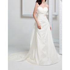 Sexy Beaded Spaghetti Straps Pleated Taffeta Wedding Dresses with Detachable Chapel Train