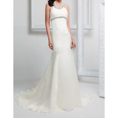 Perfect Sheath Scoop Halter Neckline Sleeveless Long Chiffon Wedding Dresses with Beaded