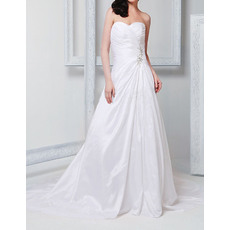 Modest A-Line Sweetheart Court Train Side Drape Taffeta Wedding Dresses with Beaded Waist