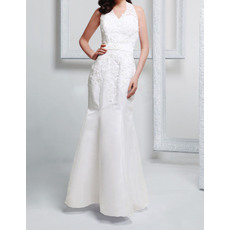 Stylish Discount Trumpet V-Neck Halter Sleeveless Long Satin Wedding Dresses with Beaded Applique