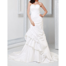 Stylish Sheath Sweetheart Chapel Train Satin Asymmetric Ruched Wedding Dresses with Tiered Ruffle Skirt