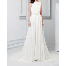 Vintage Column Bateau Court Train Pleated Chiffon Wedding Dresses with Beaded Applique Waist