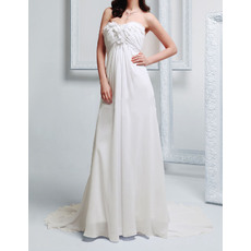 Romantic Empire Sweetheart Court Train Chiffon Wedding Dress with Floral Applique and Beading