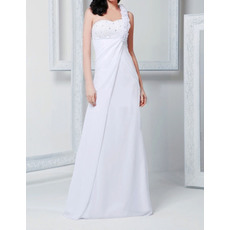 Romantic Sheath Beaded Long Chiffon Beach Wedding Dresses with Floral Shoulder