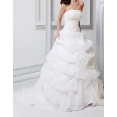 Luxurious Beading Appliques Ball Gown Court Train Organza Wedding Dresses with Pick-Up Skirt