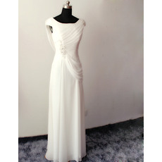 Vintage Elegant Sheath Cap Sleeveless Full Length Chiffon Beach Wedding Dresses with Cowl Back Neck