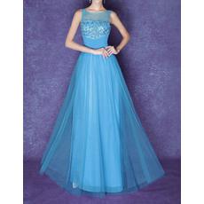 New Style Sheer Bateau Floor Length Organza Prom Evening Dresses