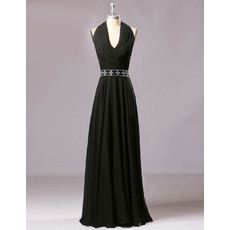 Top Style Halter Floor Length Chiffon Black Prom Evening Dresses