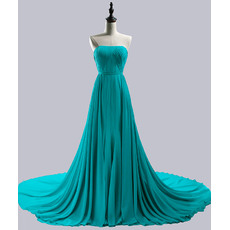 Inexpensive Strapless Sleeveless Chapel Train Chiffon Prom Evening Dresses