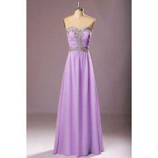 Inexpensive Sweetheart Floor Length Chiffon Rhinestone Evening Dresses