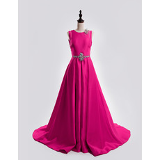 A-Line Sleeveless Court Train Satin Backless Prom Evening Dresses