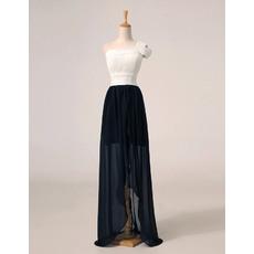 Custom One Shoulder High-Low Chiffon Ivory/ Black Evening Dresses