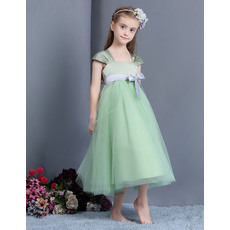 Simple Empire Cap Sleeves Tea Length Easter Little Girls Dresses Under 100/ Tulle Flower Girl Dresses with Sash
