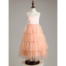 Affordable Wide Straps Tea Length Layered Skirt Easter Little Girls Dresses/ Discount Tulle Flower Girl Dresses