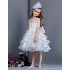 Cute Ball Gown Illusion Tulle Neckline Knee Length Layered Skirt Organza Flower Girl Dresses with Appliques and Bowknot