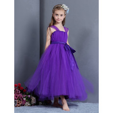 Beautiful Ball Gown Wide Straps Tea Length Tulle Little Girls Party Dresses/ Lovely Flower Girl Dresses