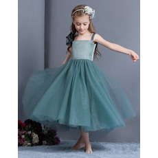 Discount Wide Straps Tea Length Satin Tulle Little Girls Holiday Dresses Under 100