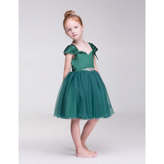 Discount Ball Gown Knee Length Satin Tulle Little Girls Holiday Dresses with Cap Sleeves Under 100