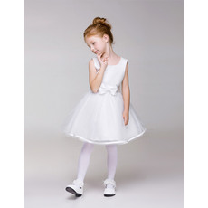 Inexpensive Simple A-Line Knee Length Tulle First Communion Dresses with Belt and Bowknot