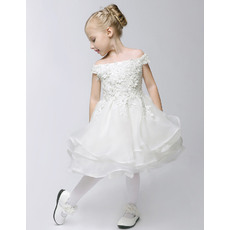 Cute A-Line Off-the-shoulder Knee Length Layered Organza Flower Girl Dresses with Appliques Beaded