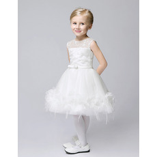 Ball Gown Illusion Jewel Neck Knee Length Lace Tulle Flower Girl Dresses with satin waistband and Feather Bottom