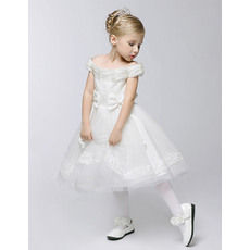Princess Ball Gown Off-the-shoulder Lace and Organza Short First Communion Dresses