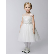 Plain Cute Ball Gown Jewel Neck Sleeveless Knee-length First Communion Flower Girl Dresses with Lace Appliques