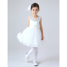 Cute Illusion Neckline Short Lace First Communion Dresses with Belt and Beading