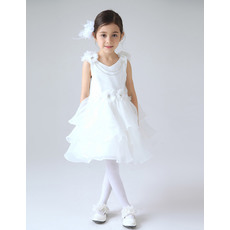 Charming Short Organza Layered Skirt First Communion Flower Girl Dresses with 3D Flowers and Crystal