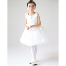 Discount Ball Gown Round Neck Lace and Tulle Short Girls First Communion Dresses with Bows