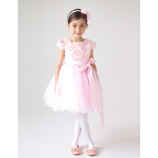 New Arrival Jewel Neck Cap Sleeves Short Floral Flower Girl Dresses with Pleated Tulle Skirt