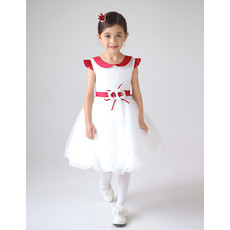 Cute Doll Collar Short Bubble Skirt First Communion Dresses with Flower Waistband