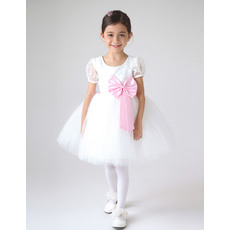 Discount Ball Gown Satin and Tulle Short Sleeves Flower Girl Dresses with Bows