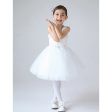 Discount Ball Gown Wide Straps Sleeveless Short Tulle First Communion Dresses with Beaded Applique