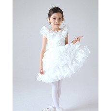 New Style Cute Pouf Neckline Organza and Satin Beaded Applique First Communion Dresses with with Pick-up Layered Skirt