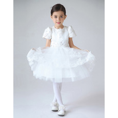 Charming Ball Gown Jewel Neckline Appliques Beaded Satin and Tulle First Communion Dresses with Short Puff Sleeves