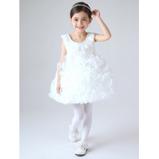 Cute Ball Gown Pouf Scoop Neckline Short First Communion Dresses with Ruffles Galore Skirt