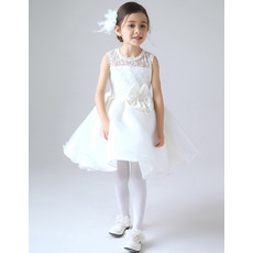 Affordable A-Line Jewel Neck Short Lace and Satin Girl First Communion Dresses Under 100 with Bowknot
