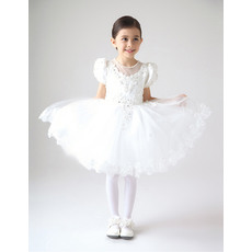 New Style Ball Gown Jewel Neck Short Bubble Sleeves Girls First Communion Dresses with Appliques Beading